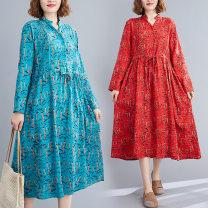 Dress Autumn 2020 Blue, red L,XL,2XL longuette singleton  Long sleeves commute V-neck Elastic waist Socket A-line skirt routine Others Type A literature 81% (inclusive) - 90% (inclusive) cotton