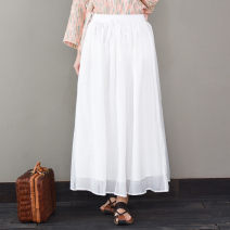 skirt Summer 2021 M, L White, dark red, literary green Mid length dress Retro Natural waist A-line skirt Solid color Type A More than 95% cotton