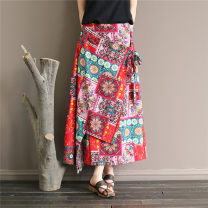 skirt Summer 2021 Average size Blue, red, Royal Blue Phoenix, rock safflower, ink green flower, ink red flower, rosemary purple longuette commute Natural waist A-line skirt Decor Type A 25-29 years old More than 95% hemp Old, printed Retro