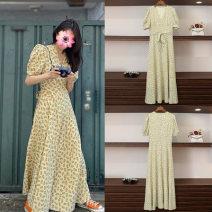 Dress Summer 2020 S,M,L longuette singleton  V-neck High waist Ruffle Skirt 81% (inclusive) - 90% (inclusive) Chiffon