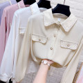 shirt Apricot, white, pink, purplish blue Average size Spring 2021 other 31% (inclusive) - 50% (inclusive) Long sleeves commute Regular Polo collar Single row multi button routine Solid color 25-29 years old Korean version Bright silk Chiffon