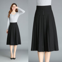 skirt Spring 2021 black Mid length dress Versatile Natural waist Pleated skirt Solid color Type A other Jasper rose