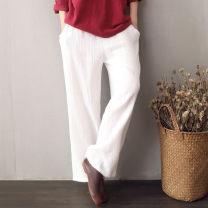Casual pants Average size Autumn of 2019 trousers Wide leg pants Natural waist commute routine 96% and above cotton Retro pocket cotton