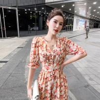 Dress Summer 2020 Decor S,M,L,XL,2XL longuette singleton  Short sleeve commute V-neck High waist Single breasted Ruffle Skirt Petal sleeve Type X ac0731 71% (inclusive) - 80% (inclusive) Chiffon