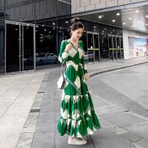 Dress Summer 2020 Decor S,M,L,XL,2XL longuette singleton  Long sleeves V-neck High waist other Single breasted Ruffle Skirt shirt sleeve Type X Miao Ke ac0823 71% (inclusive) - 80% (inclusive) Chiffon