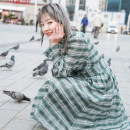 Dress Spring of 2019 green XS,S,M Mid length dress singleton  Long sleeves commute stand collar middle-waisted lattice Socket Big swing Lotus leaf sleeve Others 18-24 years old Type X Vagrant Republic Retro 31% (inclusive) - 50% (inclusive) other polyester fiber