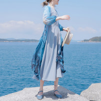 Dress Summer of 2019 S, M Mid length dress singleton  three quarter sleeve Sweet V-neck middle-waisted Decor Socket Big swing puff sleeve Others 18-24 years old Type X Vagrant Republic printing 51% (inclusive) - 70% (inclusive) Chiffon other solar system