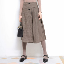skirt Spring of 2019 XS,S,M Gray brown Short skirt Versatile High waist A-line skirt lattice Type A 18-24 years old 51% (inclusive) - 70% (inclusive) other Vagrant Republic other zipper