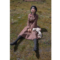 Fashion suit Winter 2020 XS,S,M,L Black flower coat with brown bottom, black flower skirt with brown bottom 18-25 years old 200869/200870 96% and above polyester fiber