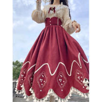 skirt Winter 2020 S,M,L Champagne shirt, red skirt Mid length dress Sweet High waist A-line skirt Type A 18-24 years old D201202 More than 95% other Classmate Li Cellulose acetate Embroidery Mori