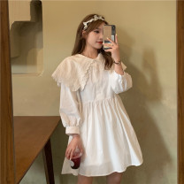 Dress Spring 2021 Black, white S,M,L Short skirt singleton  Long sleeves Sweet Doll Collar High waist Solid color A-line skirt shirt sleeve Others Under 17 Type A CW 71% (inclusive) - 80% (inclusive) solar system