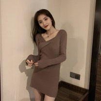 Dress Spring 2021 Black, Khaki S,M,L Short skirt singleton  Long sleeves Sweet V-neck High waist Solid color Socket A-line skirt routine Others Under 17 Type A Splicing cw/03.. 71% (inclusive) - 80% (inclusive) other other solar system