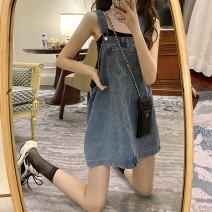 Dress Summer 2021 Denim blue Average size Short skirt singleton  Sleeveless Sweet square neck Loose waist A-line skirt straps Under 17 Type A RP solar system