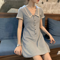 Dress Summer 2021 Black, gray S,M,L,XL Middle-skirt singleton  Short sleeve Sweet Polo collar middle-waisted Solid color Socket A-line skirt routine Others Under 17 Type A 131122-rp 51% (inclusive) - 70% (inclusive) other other solar system