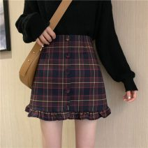 skirt Spring 2021 S,M,L Black, red Short skirt Versatile High waist A-line skirt lattice Type A Under 17 rp2 31% (inclusive) - 50% (inclusive) other fold