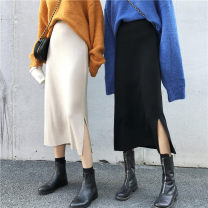 skirt Spring 2021 Average size Black, apricot Mid length dress Sweet High waist other Solid color Type H Under 17 L13-903 31% (inclusive) - 50% (inclusive) knitting polyester fiber 301g / m ^ 2 (including) - 350g / m ^ 2 (including) solar system