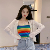 Wool knitwear Summer 2021 S,M,L Long sleeves Two piece set Socket other 71% (inclusive) - 80% (inclusive) Regular Thin money Sweet easy other other stripe Socket Under 17 Splicing solar system