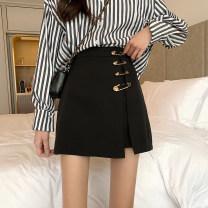 skirt Spring 2021 S,M,L,XL black Short skirt Versatile High waist skirt Solid color Type A Under 17 5565-rp2 Other / other