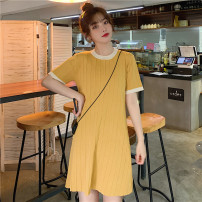 Women's large Summer 2021 Dark blue, yellow, priority delivery M (80-100kg), l (100-115kg), XL (115-130kg), 2XL (130-150kg), 3XL (150-170kg), 4XL (170-200kg) Dress singleton  commute easy moderate Socket Short sleeve Solid color Retro Crew neck Medium length other Three dimensional cutting routine