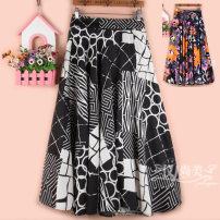 skirt Spring 2021 longuette commute High waist A-line skirt Decor Type A 51% (inclusive) - 70% (inclusive) other cotton Korean version