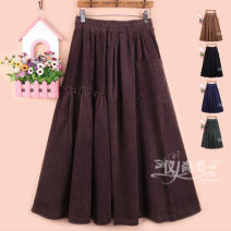 skirt Winter 2020 One size fits from 2 to 2.6 waist longuette Versatile High waist A-line skirt Solid color Type A 31% (inclusive) - 50% (inclusive) corduroy cotton