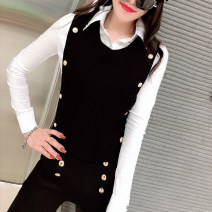 shirt White, black M,L,XL,2XL,3XL Autumn of 2019 cotton 81% (inclusive) - 90% (inclusive) Long sleeves commute Regular Polo collar Single row multi button routine Solid color 18-24 years old Self cultivation Korean version Button