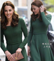 Dress Summer of 2019 green S,M,L,XL,2XL,3XL,XS longuette singleton  Long sleeves commute square neck middle-waisted Solid color Socket Big swing shirt sleeve Oblique shoulder 25-29 years old Type A lady Pleating AAA0502 81% (inclusive) - 90% (inclusive) knitting cotton