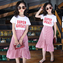 suit Other / other Red, blue 110cm,120cm,130cm,140cm,150cm,160cm female summer other Short sleeve + skirt 2 pieces Thin money There are models in the real shooting Socket nothing Solid color cotton children Expression of love White dress and red skirt Class B Chinese Mainland Guangdong Province