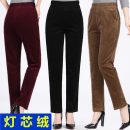 Middle aged and old women's wear Spring 2020 Khaki, Burgundy, black XL,2XL,3XL,4XL,5XL fashion trousers Straight cylinder singleton  Solid color 50-59 years old moderate Corduroy trousers Leisure trousers