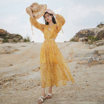 Dress Autumn 2020 Yellow Totem S,M,L,XL longuette singleton  Nine point sleeve commute Crew neck High waist Decor Socket Big swing puff sleeve Hollowed out, stitched and beaded Chiffon polyester fiber