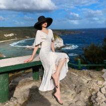 Dress Spring 2020 white S,M,L,XL longuette singleton  Short sleeve commute V-neck High waist Solid color Socket Irregular skirt Type A Retro