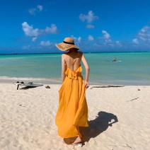 Dress Summer 2020 yellow S,M,L,XL longuette singleton  Sleeveless commute V-neck High waist Solid color Socket Big swing Type A Chiffon