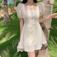 Dress Spring 2021 Apricot S,M,L,XL Short skirt singleton  Short sleeve commute square neck High waist Solid color Socket A-line skirt 18-24 years old Type A