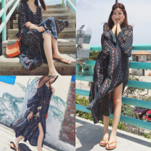 Dress Spring 2021 Picture color S,M,L,XL longuette singleton  Long sleeves commute V-neck Loose waist Decor Socket Big swing pagoda sleeve 18-24 years old ethnic style 81% (inclusive) - 90% (inclusive) other