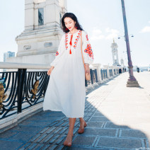 Dress Autumn 2020 white S,M,L longuette singleton  Long sleeves commute V-neck High waist Solid color Socket A-line skirt bishop sleeve Type A ethnic style