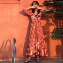 Dress Autumn 2020 Decor S,M,L,XL longuette singleton  Long sleeves commute V-neck High waist Decor Big swing Type A ethnic style