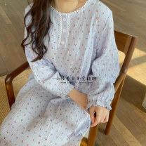 Nightdress you gelato pique Blue cherry nightdress, yellow cherry nightdress, pink cherry nightdress, love nightdress, white rabbit nightdress, blue cherry short, yellow cherry short, pink cherry short Average size Simplicity Long sleeves summer youth Crew neck cotton
