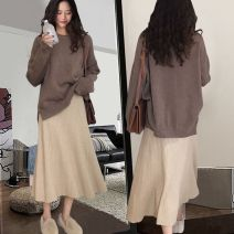 skirt Spring 2021 Average size Grey, brown Mid length dress High waist A-line skirt Solid color