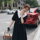 Dress Summer 2020 black S,M,L Mid length dress singleton  Short sleeve commute V-neck High waist Solid color Socket A-line skirt routine Others Type A Korean version Splicing 81% (inclusive) - 90% (inclusive) other polyester fiber