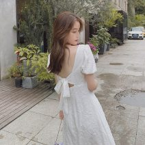 Dress Summer 2021 White, black, white short, black short S,M,L,XL longuette singleton  Short sleeve commute square neck High waist Solid color Socket A-line skirt puff sleeve Others 18-24 years old Type X Korean version Bowknot, embroidery, lace, bandage, zipper 81% (inclusive) - 90% (inclusive)