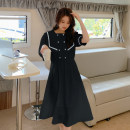 Dress Summer 2021 White, black S,M,L,XL longuette singleton  Short sleeve commute Admiral High waist Solid color Socket Big swing routine Others 18-24 years old Type X Korean version Pockets, stitching 31% (inclusive) - 50% (inclusive) other polyester fiber