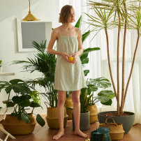 Nightdress Coco Grey green 155(S),160(M),165(L),170(XL) Simplicity camisole Leisure home Short skirt summer Geometric pattern youth Crew neck cotton printing 61% (inclusive) - 80% (inclusive) Cotton and hemp DW91DQ081
