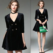 Dress Autumn of 2018 Black [100% live shot, high-end version], [two necklaces for limited time] S,M,L Short skirt singleton  three quarter sleeve commute V-neck High waist Solid color double-breasted A-line skirt routine Others Type A Retro Button, button 91% (inclusive) - 95% (inclusive) velvet