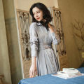 Dress Autumn of 2018 Satin haze blue S,M,L Mid length dress singleton  Long sleeves commute square neck High waist Solid color Single breasted A-line skirt Sleeve Others 25-29 years old Type H Korean version Bandage