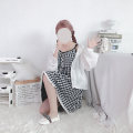 Dress Summer 2020 Black and white plaid suspender skirt S,M,L Middle-skirt singleton  Sleeveless Sweet middle-waisted lattice A-line skirt camisole 18-24 years old Type A 81% (inclusive) - 90% (inclusive) cotton solar system