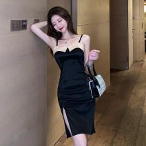 Dress Summer 2021 black S,M,L Short skirt singleton  Sleeveless commute One word collar High waist zipper One pace skirt camisole 18-24 years old