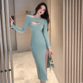 Dress Spring 2021 Pink, green, black S,M,L longuette singleton  Long sleeves commute High waist Solid color One pace skirt routine 18-24 years old Type A Korean version cotton