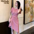 Dress Summer 2020 Pink S,M,L Short skirt singleton  Short sleeve commute Crew neck High waist Solid color Irregular skirt routine 18-24 years old Korean version 528# cotton