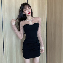 Dress Autumn 2020 black S,M,L,XL Short skirt singleton  Long sleeves commute Crew neck middle-waisted Solid color routine Others 18-24 years old T-type Ol style fold Lace polyester fiber