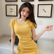 Dress Summer 2021 Average size Short skirt singleton  Short sleeve commute Crew neck High waist Solid color Socket One pace skirt routine 18-24 years old Type A Korean version fold M66 51% (inclusive) - 70% (inclusive) knitting acrylic fibres
